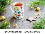 black tea in mug with... | Shutterstock . vector #693585901