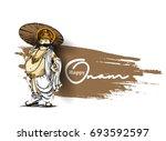 king mahabali   happy onam... | Shutterstock .eps vector #693592597