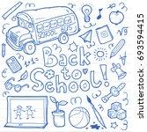 set of doodle back to school... | Shutterstock . vector #693594415