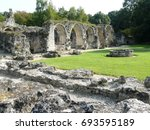 abbey of vauclair in ruins... | Shutterstock . vector #693595189