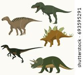 set of dinosaurs. stegosaurus ... | Shutterstock .eps vector #693595291