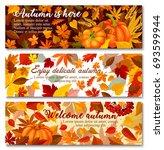 autumn pumpkin with fallen leaf ... | Shutterstock .eps vector #693599944
