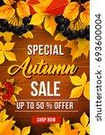 autumn sale 50 percent off... | Shutterstock .eps vector #693600004