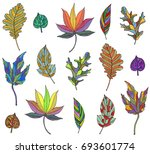 autumn leaves in watercolor | Shutterstock . vector #693601774