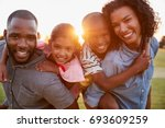 young black couple with... | Shutterstock . vector #693609259