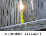 old wooden fence and a ray of... | Shutterstock . vector #693616045