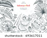 vietnamese food top view frame. ... | Shutterstock .eps vector #693617011