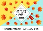 autumn sale flyer template with ... | Shutterstock .eps vector #693627145