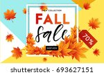 autumn sale flyer template with ... | Shutterstock .eps vector #693627151