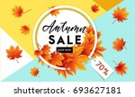 autumn sale flyer template with ... | Shutterstock .eps vector #693627181