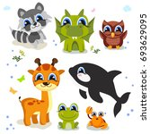 set of cute animals isolated on ...   Shutterstock .eps vector #693629095