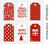 christmas and new year gift... | Shutterstock .eps vector #693636811