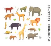 african animals cartoon set.... | Shutterstock . vector #693637489