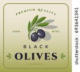 colorful black olives packaging.... | Shutterstock .eps vector #693641341