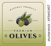 colorful green and black olives ... | Shutterstock .eps vector #693641407