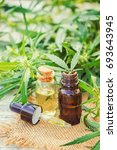 cannabis herb and leaves for... | Shutterstock . vector #693643945