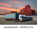cargo ship loading containers... | Shutterstock . vector #693651151