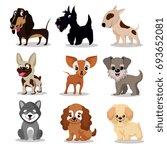 cute happy dogs. cartoon funny... | Shutterstock . vector #693652081