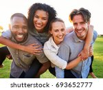 two young couples having fun... | Shutterstock . vector #693652777