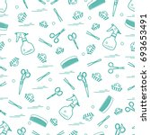 cute pattern of scissors  combs ... | Shutterstock .eps vector #693653491