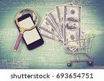 make money by tablet or mobile...   Shutterstock . vector #693654751