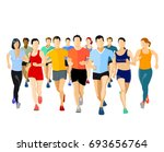 group of runners  3d... | Shutterstock . vector #693656764