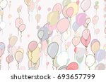 decorative hand drawn flying... | Shutterstock .eps vector #693657799