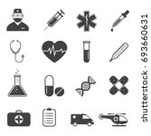 medical icons set   simple flat ... | Shutterstock .eps vector #693660631