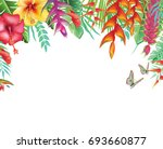 frame from tropical and flowers | Shutterstock .eps vector #693660877
