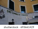 Small photo of Rome, Italy - August 6, 2017: Ente Comunale di Consumo. The Italian Institution, now dissolved, was destined after the second post-war for the supply of food to the indigent families