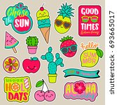 set of girl fashion patches ... | Shutterstock .eps vector #693665017