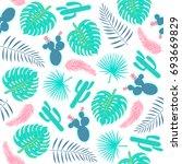 tropical plants seamless... | Shutterstock .eps vector #693669829