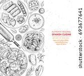 spanish cuisine top view frame. ... | Shutterstock .eps vector #693677641
