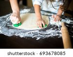 mother and daughter cooking at... | Shutterstock . vector #693678085