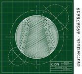vector blueprint baseball icon... | Shutterstock .eps vector #693678619