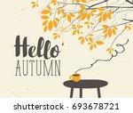vector landscape in retro style ... | Shutterstock .eps vector #693678721