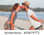 Funny Young Couple In Love On...
