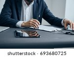 business man working with... | Shutterstock . vector #693680725