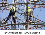 electric tower of  high voltage ... | Shutterstock . vector #693680845