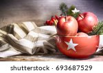 rustic christmas background... | Shutterstock . vector #693687529