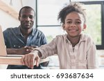 beautiful father and daughter... | Shutterstock . vector #693687634