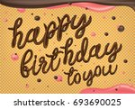 happy birthday to you in waffle ... | Shutterstock .eps vector #693690025