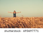 woman in the nature with arms... | Shutterstock . vector #693697771