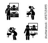 personal hygiene bathroom set.... | Shutterstock .eps vector #693715495