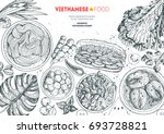 vietnamese food top view frame. ... | Shutterstock .eps vector #693728821