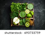 green smoothie with ingredients ... | Shutterstock . vector #693733759