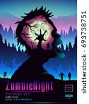 zombie night poster template in ... | Shutterstock .eps vector #693738751