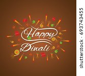 happy diwali greeting card with ... | Shutterstock .eps vector #693743455