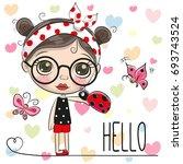cute cartoon girl with a... | Shutterstock .eps vector #693743524