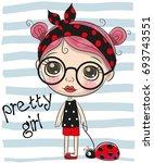 Cute Cartoon Girl With Big...